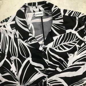 Chico's Women's Black and White Floral Jacket